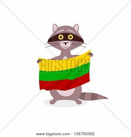 Raccoon And Flag Lithuania