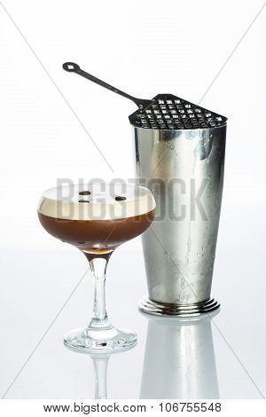 Layered Chocolate Cocktail with Whipped Cream in Glass Isolated White Background