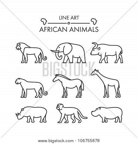 Outline Figures Of African Animals