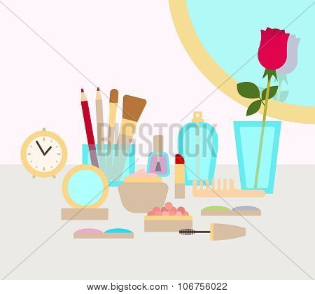 Make up concept vector flat illustration with cosmetics, makeup