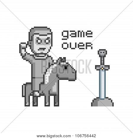 Vector Pixel Art Game Over