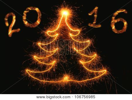 Abstract Christmas tree with the inscription 2016 on a black background