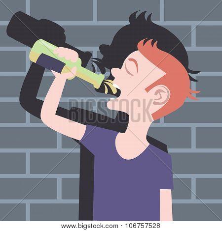 teenager drinking beer bottle