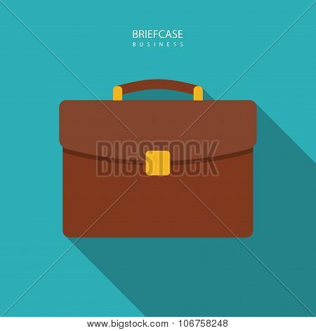Briefcase Icon In The Style Flat Design On The Blue Background. Stock Vector Illustration Eps10