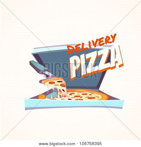 Vector illustration of hot pizza in box with text