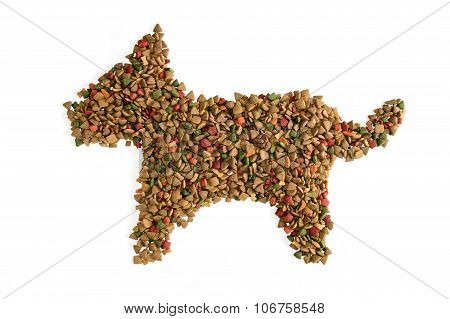 Dog Food Take shape to body dog isolate on white background
