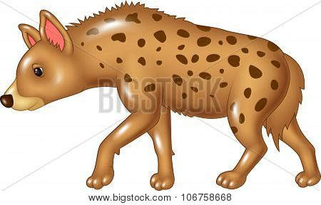 Cartoon hyena walking isolated on white background