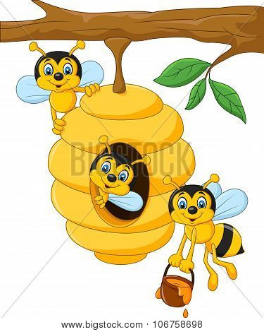 Cartoon branch of a tree with a beehive and a bee