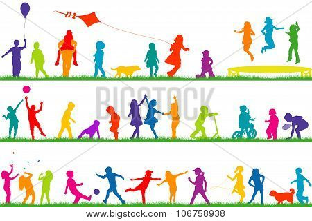 Colored Children Silhouettes Playing Outdoor