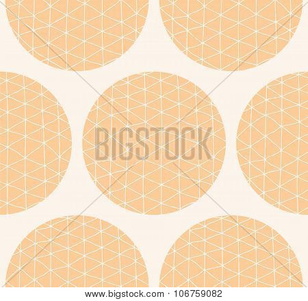 Seamless Pattern With Circles And Hand Drawn Line Pattern