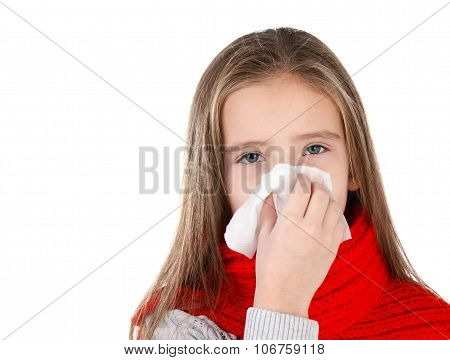 Little Girl In Red Scarf Blowing Her Nose