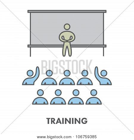 Line Icon Training, Presentation And Seminar. Vector Business Sy