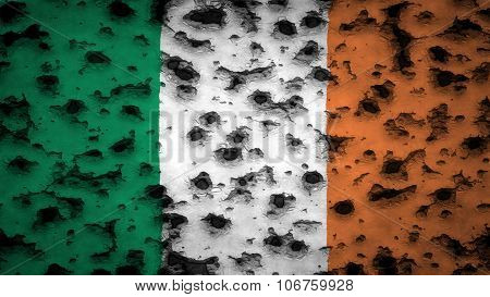 Flag of Ireland, Irish Flag painted on wall with bullet holes