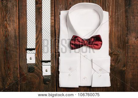 Shirt, Casual Suspenders And Marsala Bowtie. Top View