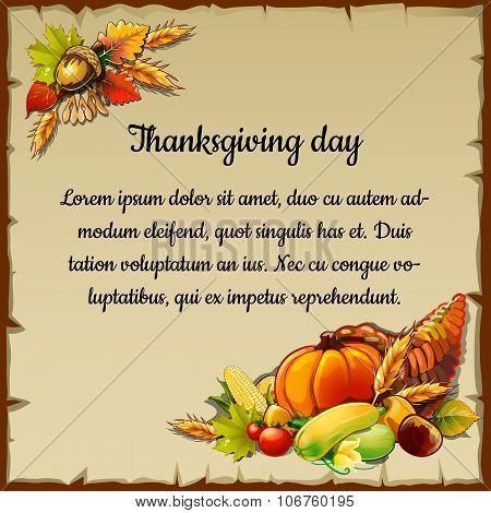 Card for thanksgiving day with the harvest