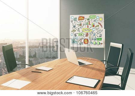 Business Strategy Scheme On Board In Modern Conference Room