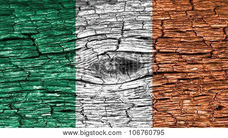 Flag of Ireland, Irish Flag painted on wood texture