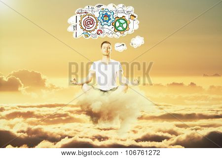 Man Meditate In The Sky And Think About Business Scheme Concept