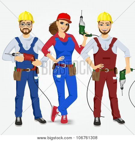handymen and handywoman with drills