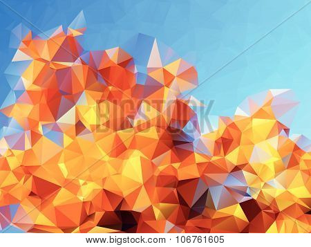 Abstract polygonal background with bright blue sky and golden autumn tree foliage. Suitable for autu