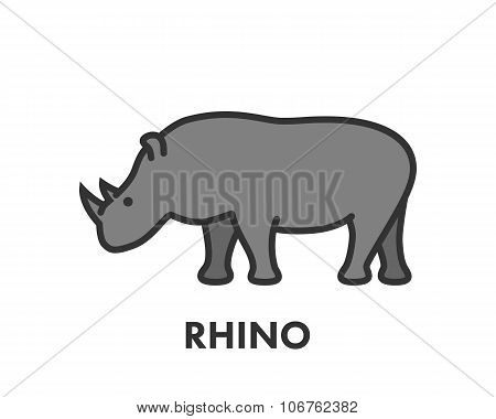 Painted Line Figure Of Rhino. Vector Outline Symbol