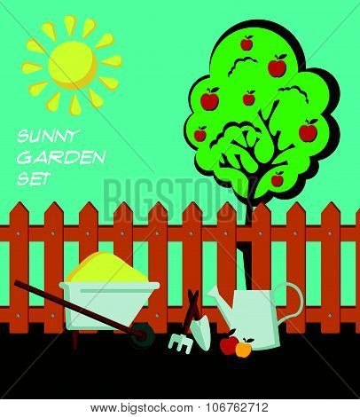 Summer time garden flat style composition with a brown fence, metal watering can, an apple tree with