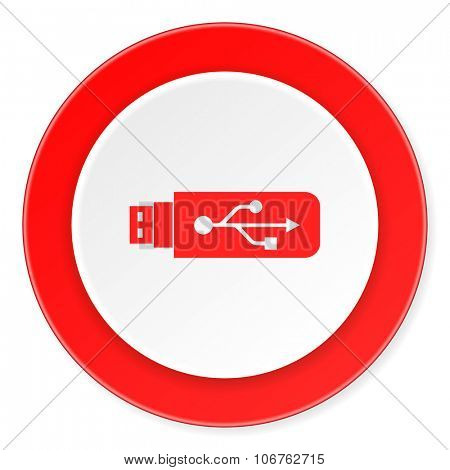 usb red circle 3d modern design flat icon on white background