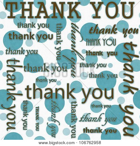 Thank You Design With Teal And White Polka Dot Tile Pattern Repeat Background