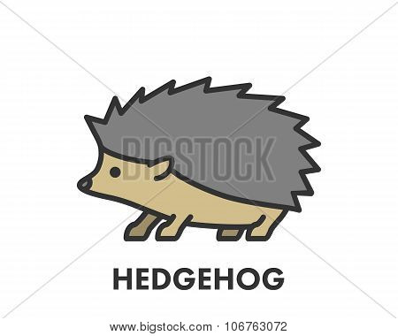 Painted Line Figure Of Hedgehog. Vector Outline Symbol