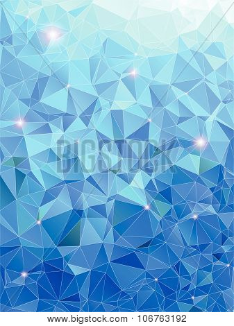 Blue abstract geometric rumpled triangular low poly style vector illustration graphic background wit
