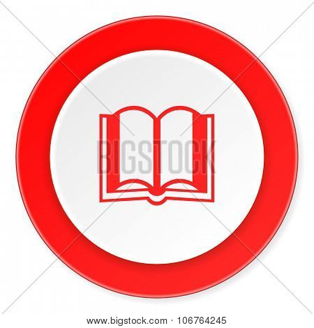 book red circle 3d modern design flat icon on white background