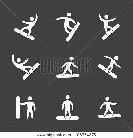 Silhouettes Of Figures Snowboarder Icons Set