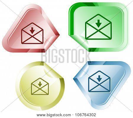 mail downarrow. Raster sticker.