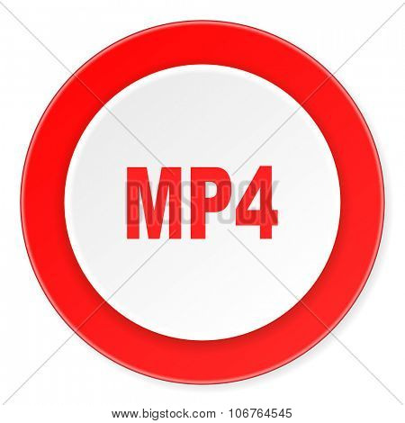 mp4 red circle 3d modern design flat icon on white background