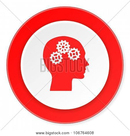 head red circle 3d modern design flat icon on white background