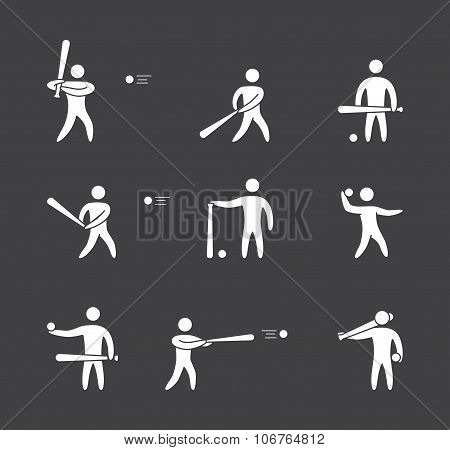 Silhouettes Of Figures Baseball Player Icons Set