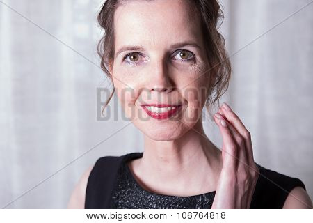 Portrait Attractive Woman Who Is Smiling