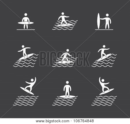 Silhouettes Of Figures Surfer Icons Set