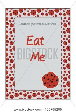 Invitation Postcard Eat Me Cookie From Wonderland.