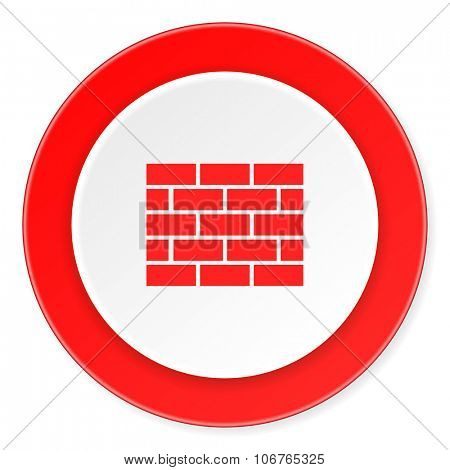 firewall red circle 3d modern design flat icon on white background