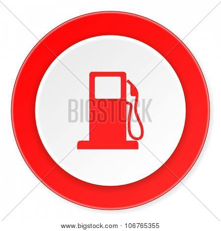 petrol red circle 3d modern design flat icon on white background