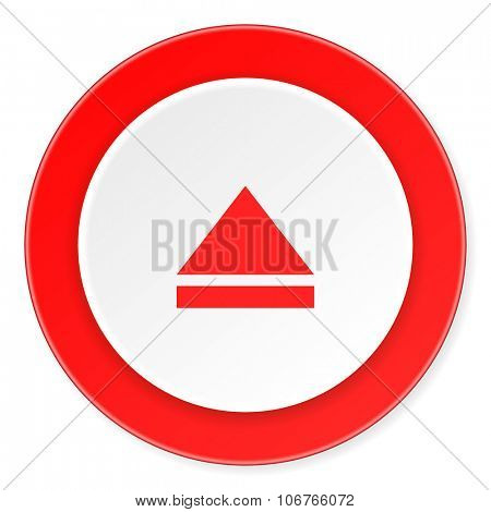 eject red circle 3d modern design flat icon on white background