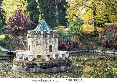 Turret In Bojnice, Autumn Park, Lake And Colorful Trees