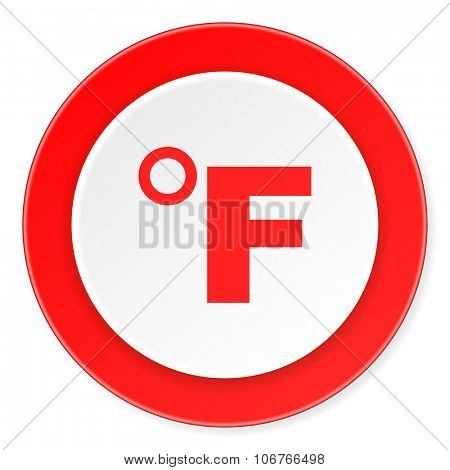 fahrenheit red circle 3d modern design flat icon on white background