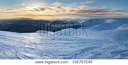 Sunset In Winter Mountain.