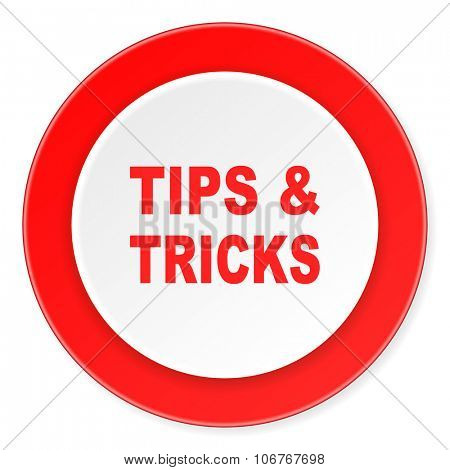 tips tricks red circle 3d modern design flat icon on white background