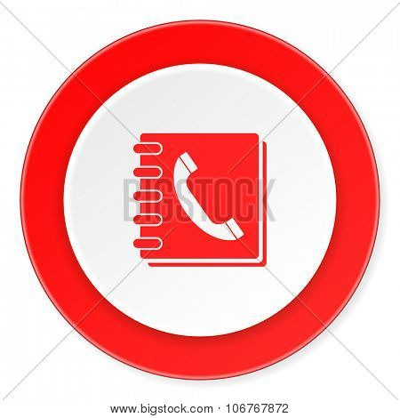 phonebook red circle 3d modern design flat icon on white background