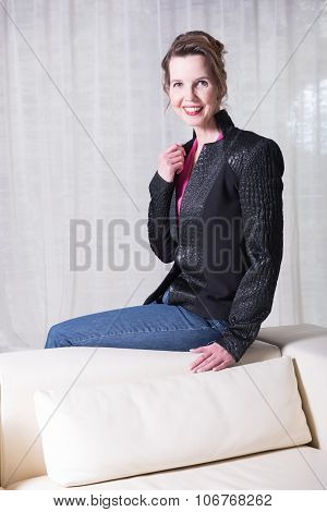 Portrait Attractive Woman With Jacket