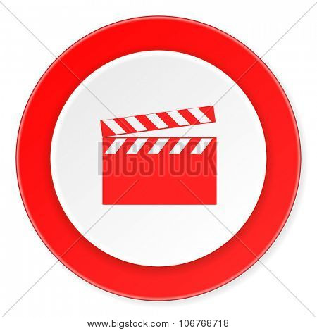 video red circle 3d modern design flat icon on white background