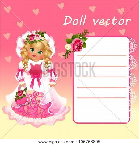 Cute doll Princess in pink dress with card